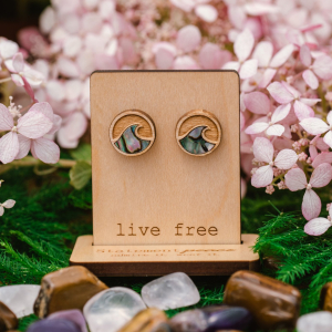 Making Waves Wood and Abalone Stud Earrings by Statement Peace from Appalachian Standard