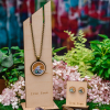 Making Waves Wood and Abalone Stud Earrings and Necklace by Statement Peace from Appalachian Standard