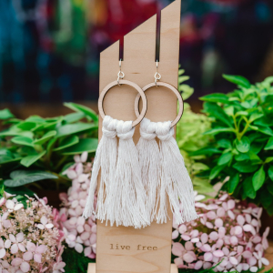 Cream Fringe Hoops by Statement Peace
