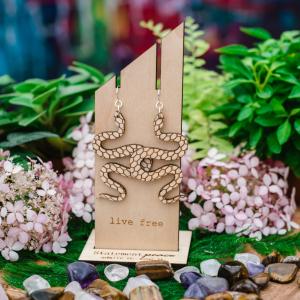 Wood Snake Earrings by Statement Peace from Appalachian Standard