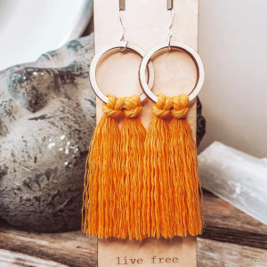 Marigold Fringe Hoops by Statement Peace