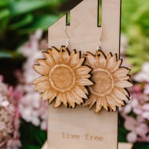 Sunflower Wood Earrings by Statement Peace from Appalachian Standard