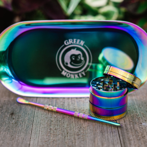 Green Monkey Rainbow Finish Rolling Tray & Grinder Kit